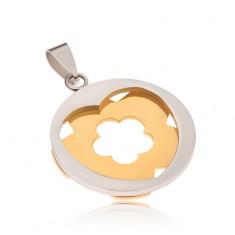 Stalowy wisiorek - srebrne koło z wycięciem w kształcie serca, złoty kwiat