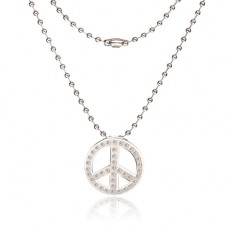 Naszyjnik ze stali chirurgicznej - łańcuszek wojskowy, symbol Peace
