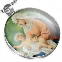 Okrągły wisiorek ze stali, Maryja Panna z Jezuskiem, zielone tło