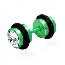 Fałszywy piercing w zielonym kolorze - szlifowane przezroczyste cyrkonie, czarne gumki