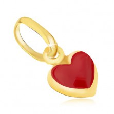 Lśniący złoty wisiorek 375 - drobne wypukłe czerwone serduszko, emalia