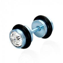 Fałszywy piercing w kolorze niebieskim - szlifowane przezroczyste cyrkonie, czarne gumki