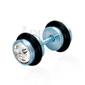 Fałszywy piercing niebieski z cyrkoniami