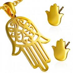 Złoty zestaw ze stali - wisiorek i kolczyki, ażurowa dłoń Fatimy