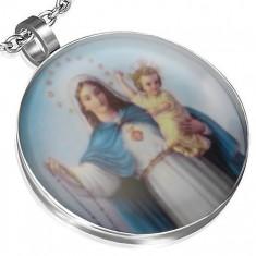 Stalowy medalion, Maryja Panna i mały Jezus, niebieskie tło