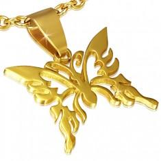 Złoty wisiorek ze stali, lśniący wycinany motyl