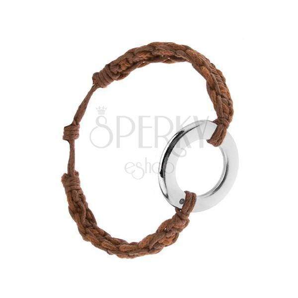 Bransoletka z orzechowych i kasztanowych sznurków, okrągła zawieszka