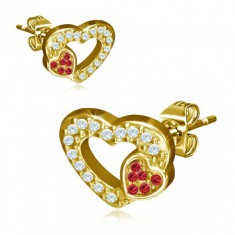 Złote stalowe kolczyki, dwa serca, czerwone i przezroczyste kamyczki