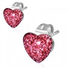Stalowe kolczyki, różowe brokatowe serce