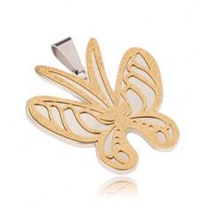 Złoto-srebrna zawieszka ze stali, motyl o piaskowanej powierzchni