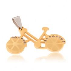 Wisiorek ze stali chirurgicznej - rower w złotym kolorze, przezroczyste cyrkonie