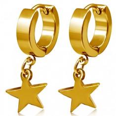Stalowe kolczyki w złotym kolorze, koła i wisząca gwiazda