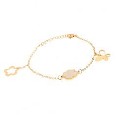 Stalowa bransoletka na rękę w złotym kolorze, łańcuszek, motyl, czterolistna koniczyna, kwiat