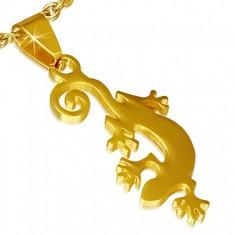 Wisiorek ze stali chirurgicznej w złotym kolorze, jaszczurka