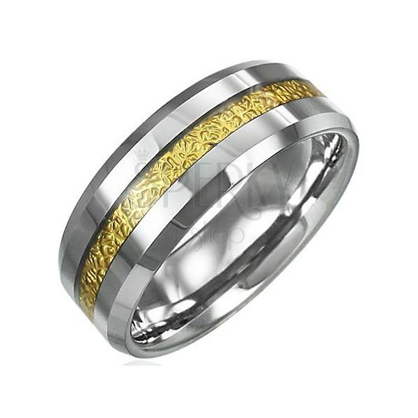 Tungsten pierścionek z wzorzystym paskiem złotego koloru, 8mm