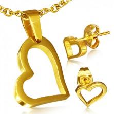 Złoty zestaw ze stali chirurgicznej - kolczyki i wisiorek, asymetryczny zarys serca