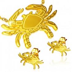 Złoty zestaw ze stali - kolczyki wkręty i wisiorek, krab