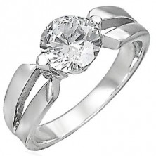 Zaręczynowy pierścionek ze stali chirurgicznej, duża bezbarwna cyrkonia, wycięcia na ramionach