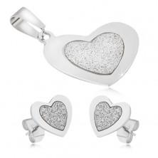 Stalowy zestaw - wisiorek i kolczyki, symetryczne serca, piaskowany środek