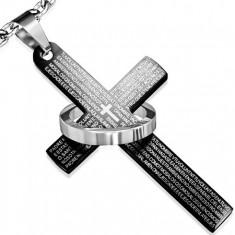 Stalowy wisiorek, czarny krzyż z modlitwą, srebrne koło
