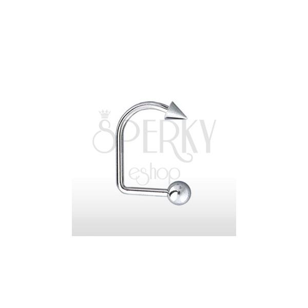 Kolczyk do brody i wargi zagięty z kuleczką i grotem 4 mm / 5 mm