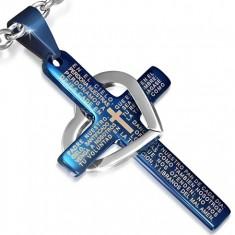 Stalowy wisiorek - niebieski krzyż z modlitwą, srebrny zarys serca