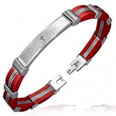 Bransoletka - czerwone gumowe ogniwa ze stalowymi paskami, wstawka, modlitwa
