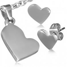 Stalowy zestaw - wisiorek i kolczyki wkręty, asymetryczne serca