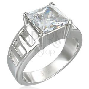 Pierścionek zaręczynowy z dużą kwadratową cyrkonią i sześcioma otworami