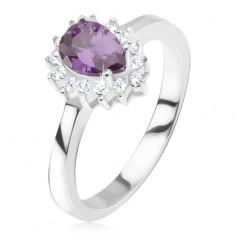 Srebrny pierścionek - fioletowy kamyczek łezka, cyrkoniowa obwódka