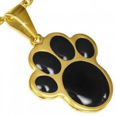 Złoty wisiorek ze stali, czarna zwierzęca łapka
