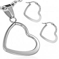 Zestaw ze stali - kolczyki i wisiorek, płaski lśniący zarys serca
