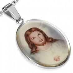 Owalny stalowy medalik z obrazkiemm przedstawiającym Jezusa