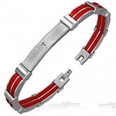 Dwukolorowa stalowa bransoletka - czerwone gumowe i metalowe ogniwa, modlitwa