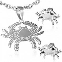 Sada z ocele - puzetové náušnice a prívesok, gravírovaný krab