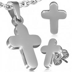 Zestaw ze stali - wisiorek i kolczyki, gładki krzyż łaciński
