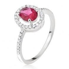 Srebrny pierścionek - owalny różowoczerwony kamyczek, cyrkoniowa obwódka