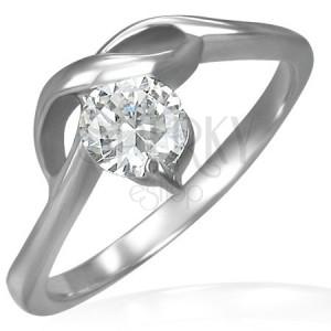 Pierścionek zaręczynowy z okrągłą cyrkonią i delikatnymi falami