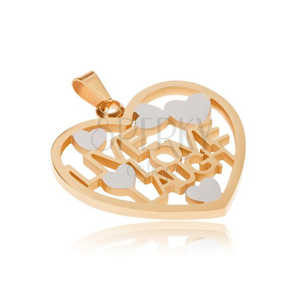 Złoto-srebrny wisiorek ze stali, zarys serca, LIVE, LOVE, LAUGH