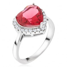 Srebrny pierścionek 925 - duży czerwony kamień serce, cyrkoniowa obwódka