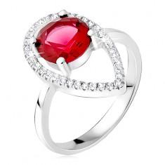 Srebrny pierścionek - okrągły czerwony kamień, kontury łezki z cyrkonii