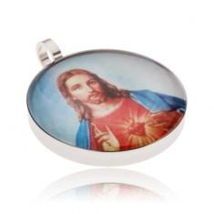 Okrągły stalowy medalik, Jezus w czerwono-niebieskiej szacie