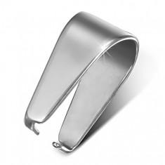 Lśniący srebrny haczyk na wisiorek ze stali chirurgicznej, 6 mm