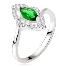 Srebrny pierścionek - kamyczek w kształcie elipsy w zielonym kolorze, cyrkoniowe kontury