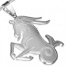 Stalowy wisiorek w srebrnym kolorze, znak Zodiaku Koziorożec