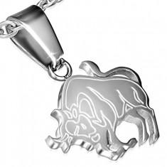 Lśniący srebrny wisiorek ze stali chirurgicznej, Byk