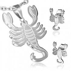 Stalowy zestaw ze znakiem Zodiaku Skorpion, wisiorek i kolczyki wkręty