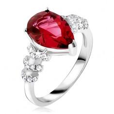 Pierścionek ze srebra 925 - czerwony kamień łezka, przezroczyste cyrkoniowe strzałki