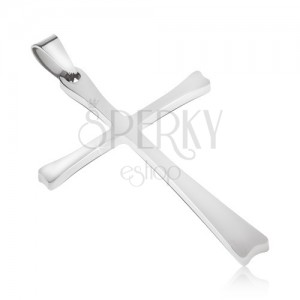 Stalowy wisiorek w srebrnym kolorze, krzyż o cienkich ramionach