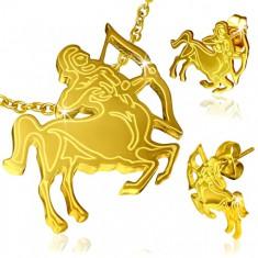 Stalowy zestaw w złotym kolorze, kolczyki i wisiorek, znak Zodiaku Strzelec